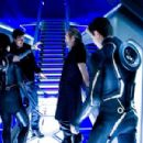 Olivia Wilde, Joseph Kosinski, Jeff Bridges, and Garrett Hedlund on the set of TRON LEGACY