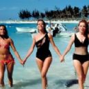 Martine Beswick, Claudine Auger, Luciana Paluzzi on break from filming Thunderball (1965) - 454 x 296