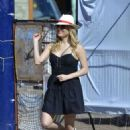 Katheryn Winnick in Black Mini Dress – Out in Buenos Aires