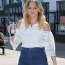 Kimberley Walsh in Jeans Skirt at ITV Studios in London - 454 x 755