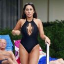 Sophie Kasaei in Black Swimsuit on holiday in Tenerife - 454 x 774