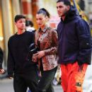 Bella Hadid – Wearing a snakeskin jacket out in New York