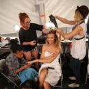 Josephine Skriver prepares backstage at the Zimmermann fashion show during Mercedes-Benz Fashion Week Spring 2015 at The Pavilion at Lincoln Center on September 5, 2014 in New York City