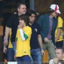 Mick Jagger with his son Lucas at the Mineirao stadium in Belo Horizonte, Brazil - 8 July 2014