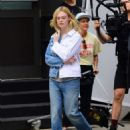 Elle Fanning on set of a photoshoot in Tribeca