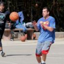 Adam Sandler was spotted playing basketball with his friends in Brentwood, California on October 15, 2016 - 454 x 583