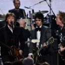Inductees Ringo Starr and Billie Joe Armstrong of Green Day perform with Sir Paul McCartney and Gary Clark Jr. onstage during the 30th Annual Rock And Roll Hall Of Fame Induction Ceremony at Public Hall on April 18, 2015 in Cleveland, Ohio. - 454 x 316
