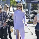 Rosie Huntington Whiteley in Purple on EXTRA TV Live in Los Angeles