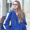 Gigi Hadid in Blue Coat – Out in New York City