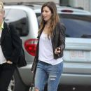 'Nailed' actress Jessica Biel taking a stroll with a friend in Boston, Massachusetts on August 9, 2013. Jessica flew into town to spend some time with her husband, Justin Timberlake, who will be performing in two shows at Fenway Park