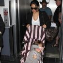 Salma Hayek And Her Daughter Arriving At LAX