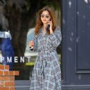 Jenna Louise Coleman in a Plaid Dress – Out in Los Angeles