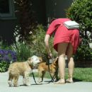Minka Kelly in Red Dress with her dogs in Los Angeles - 454 x 507