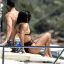 Kourtney Kardashian in Bikini on the yacht in Sardinia