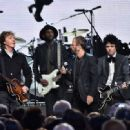 Inductees Ringo Starr and Billie Joe Armstrong of Green Day perform with Sir Paul McCartney and Gary Clark Jr. onstage during the 30th Annual Rock And Roll Hall Of Fame Induction Ceremony at Public Hall on April 18, 2015 in Cleveland, Ohio. - 454 x 332