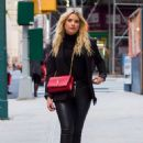 Ashley Benson in Leather Pants out in New York City