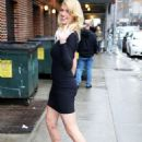 Kate Upton arrives to David Letterman studios with leggy Sports Illustrated models as her billboard cover is unveiled