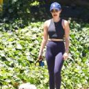 Lucy Hale – Out with her dog Elvis in Studio City