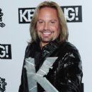 Vince Neil of Motley Crue, winner of the Kerrang! Hall of Fame Award, poses with the award during the Relentless Energy Drink Kerrang! Awards 2010 at The Brewery on July 29, 2010 in London, England