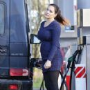 Kelly Brook In Tight Mini Dress At A Gas Station In Kent