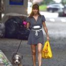 Helena Christensen – With Her Dog out in New York - 454 x 517