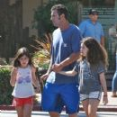 Adam Sandler takes his daughters Sunny and Sadie to breakfast in Malibu, California on September 07, 2015