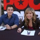 Nathan Kress and Jennette McCurdy celebrated with the winner of the Nickelodeon Rocks Your School event, November 16, in San Luis Obispo, CA