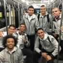 Ronaldo and his Real Madrid teammates pose for the camera as they make their way to Valencia