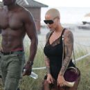 Amber Rose in Black Swimsuit on the Beach in Miami