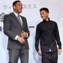 "Will and Jaden Smith at a press conference for ""After Earth"" in Tokyo (May 1)"