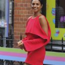 Alesha Dixon in Red Dress out in Soho - 454 x 945