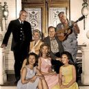 "Rufe Davis, Lori Saunders, Bea Benaderet, Gunilla Hutton, Edgar Buchanan, Linda Kaye Henning and Lester ""Smiley"" Burnette in ""Petticoat Junction"""