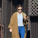 Lucy Hale in Blue Tights and Long Coat – Out in Los Angeles