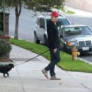 Michael C. Hall out walking his dog in Los Feliz, California on December 24, 2013 - 454 x 300