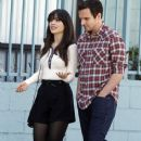 """Zooey Deschanel filming a scene on the set of """"New Girl"""" in Los Angeles, CA on January 17, 2012"""