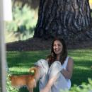 Minka Kelly takes her dog Fred to the park in Beverly Hills - 454 x 542