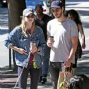 Melissa Benoist With Chris Wood on National Dog Day in Vancouver 08/26/2017 - 454 x 681