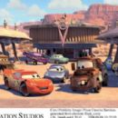 McQueen (voiced by Owen Wilson), Sally (voiced by Bonnie Hunt) and Mater (voiced by Larry The Cable Guy) in Buena Vista Pictures Distribution's Cars - 2006