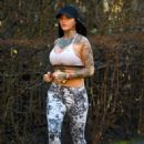 Jemma Lucy in Tights and Sports Bra – Workout in Manchester - 454 x 660