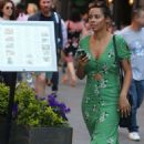 Rochelle Humes in Green Dress at Global Radio in London - 454 x 747