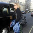 Cara Delevingne gets dropped off by a taxi in South Kensington on August 21, 2013