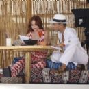 Lindsay Lohan at her beach club in Mykonos