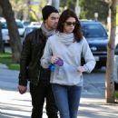 Joe and Ashley Greene walk their dogs