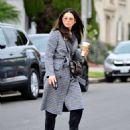 Jessica Gomes in Grey Long Coat – Out in LA - 454 x 542