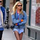 Stella Maxwell in Denim Shorts – Out in New York City