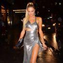 Paris Hilton in Metallic Dress – Arrives at KKW X Winnie Event at L'avenue in NY - 454 x 681