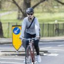 Lily James – Bike Ride candids in London