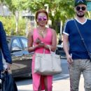 Melanie Brown in Pink Dress – Out in Los Angles