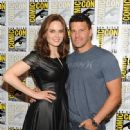 "Emily Deschanel and David Boreanaz attend the Fox ""Bones"" press room at Comic-Con International in San Diego, Calif. on July 19, 2013"