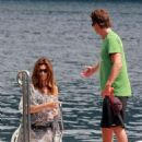 Cindy Crawford And Husband Rande Gerber Enjoy A Boat Ride While Visiting Geroge Clooney In Italy , 2009-08-02